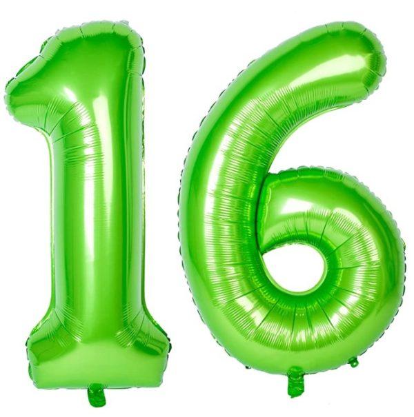 Set baloane uriase cifre numar 16, verzi, 103cm - Balon 16