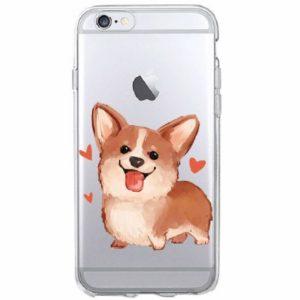 Husa Transparenta iPhone 5C - Model Caine cu Inimi