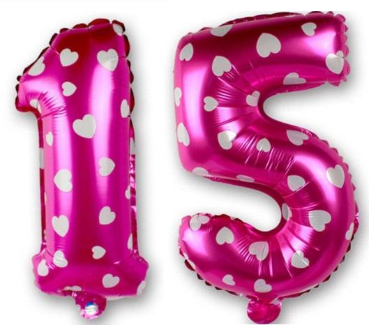 Set baloane cifre numar 15, roz cu inimi, 42cm - Balon 15