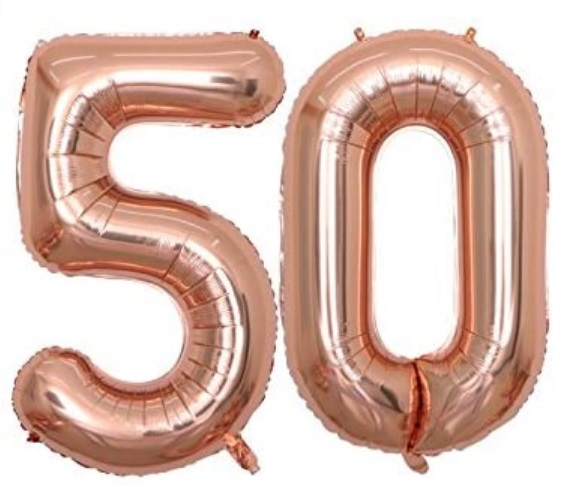 Set baloane cifre numar 50, rose gold, 75cm - Balon 50