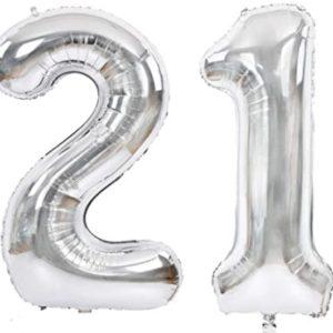 Set baloane cifre numar 21, argintii, 75cm - Balon 21