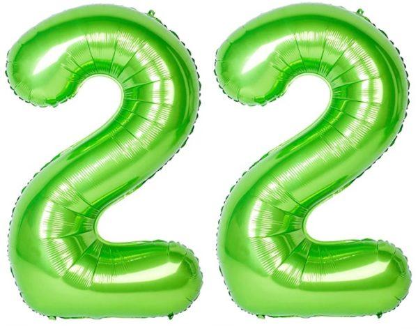 Set baloane uriase cifre numar 22, verzi, 116cm