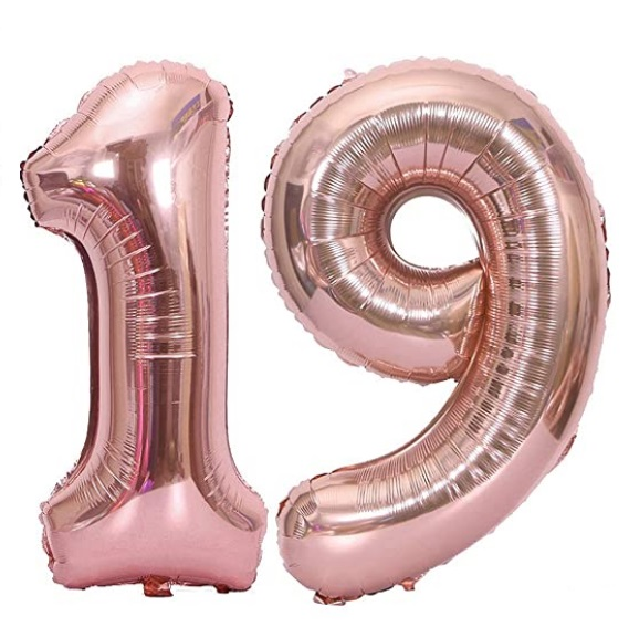 Set baloane cifre numar 19, rose gold, 101cm - Balon 19