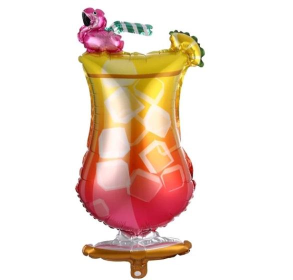 Baloane Petrecere: Balon Mare Pahar Cocktail cu Pasare Flamingo