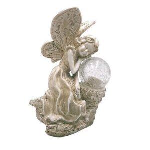 Decoratiune / Statuie Ceramica Inger cu Sfera Luminoasa / Lampa Solara