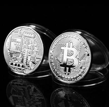 Moneda de colectie Criptomoneda Bitcoin, argintie