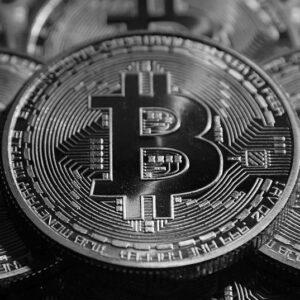 Moneda de colectie Bitcoin, argintie