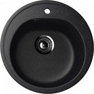 Chiuveta rotunda de bucatarie Ulgran, culoare neagra, sifon inclus