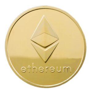 Moneda fizica Ethereum, aurie / Criptomoneda ETH