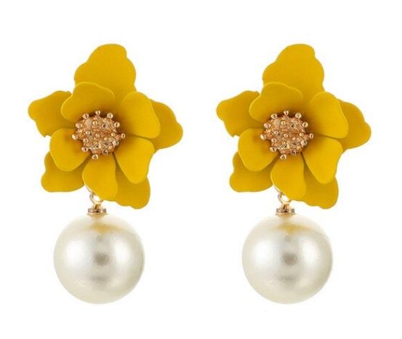 Cercei Flori Galbene cu Bile Perle