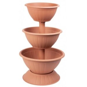 Set 3 Ghivece Decorative Suprapuse in Forma de Piramida