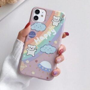 Husa iPhone 12 Amuzanta Happy, Curcubeu, Ursuleti