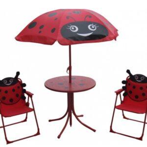 Set mobilier de gradina pentru copii Buburuza, umbrela, masa si 2 scaune