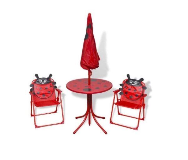 Set mobilier exterior pentru copii Buburuza, umbrela, masa si 2 scaune