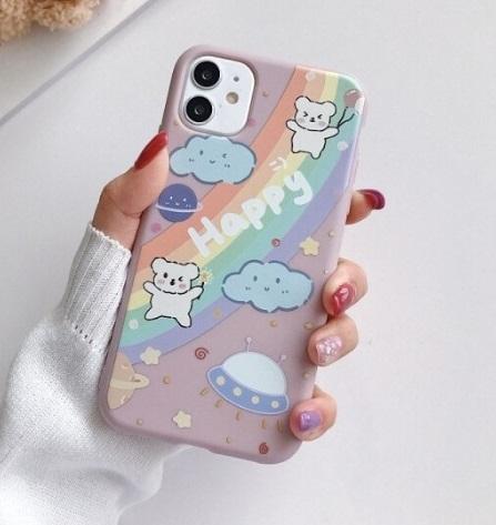 Husa Telefon iPhone 12 Pro – Model Happy, Curcubeu, Ursuleti, OZN